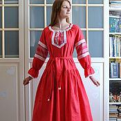 Русский стиль handmade. Livemaster - original item Red linen dress Vesnyanka Russian, Slavic. Handmade.
