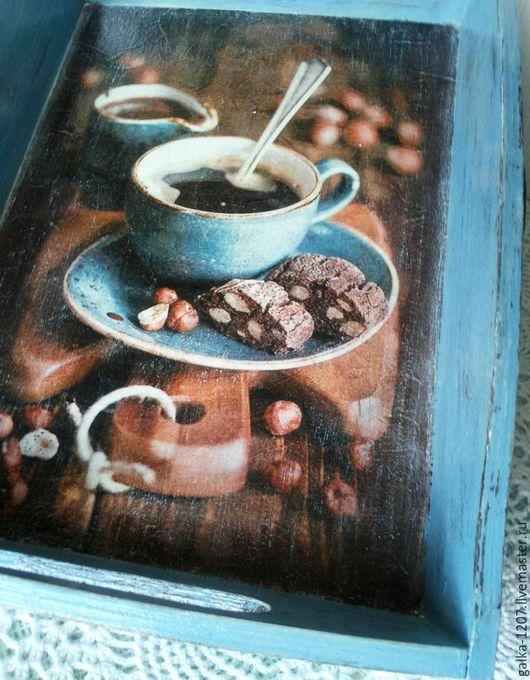"""Кухня ручной работы. Ярмарка Мастеров - ручная работа. Купить Поднос+подарок """"Утренний кофе"""". Handmade. Комбинированный, подносы, поднос с кофе"""