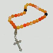 handmade. Livemaster - original item Christian rosary of yellow agate with black agate dividers. Handmade.
