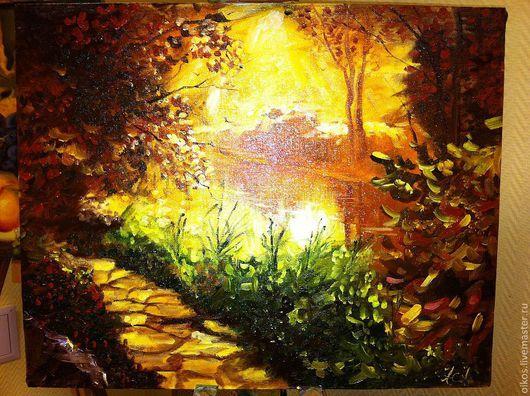 Пейзаж ручной работы. Ярмарка Мастеров - ручная работа. Купить Оранжевый пейзаж. Handmade. Пейзаж, оранжевый, красивая картина