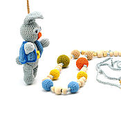 Работы для детей, ручной работы. Ярмарка Мастеров - ручная работа Слингобусы вязаные из хлопка с игрушкой Зайка. Handmade.