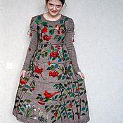 """Одежда ручной работы. Ярмарка Мастеров - ручная работа Платье """"Кардиналы на бежевом"""". Handmade."""