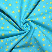 Материалы для творчества ручной работы. Ярмарка Мастеров - ручная работа Американский хлопок-фланель  ЯРКИЙ ГОРОШЕК на голубом фоне. Handmade.