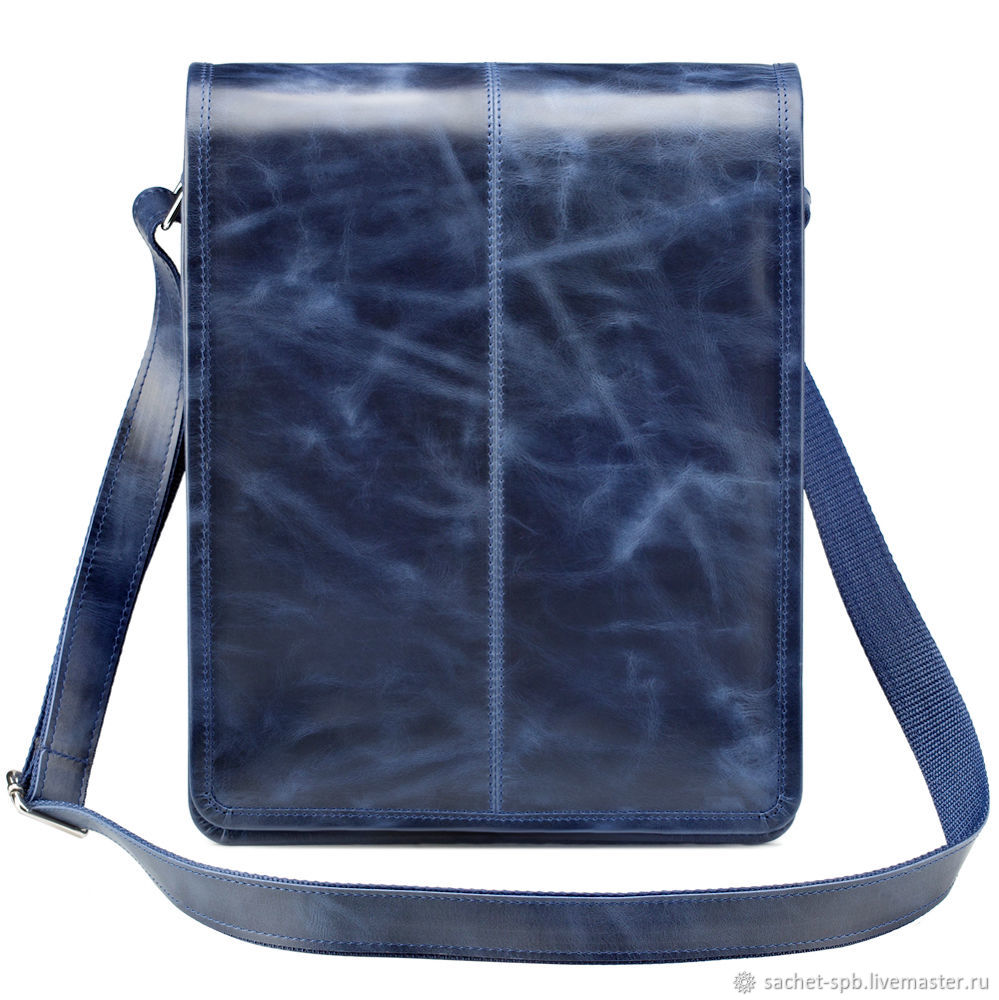 Leather bag 'Mitchell' (blue antique), Tablet bag, St. Petersburg,  Фото №1