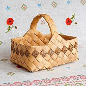 Для дома и интерьера handmade. Livemaster - original item A basket woven from birch bark with a picture. Gift basket wicker. Handmade.