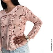 Одежда handmade. Livemaster - original item Women`s Lotus pullover, cotton, openwork knitting, pink. Handmade.