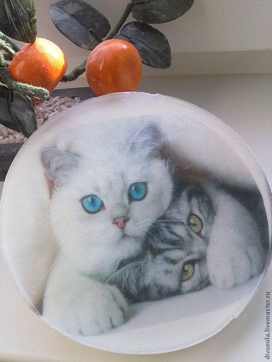 Мыло ручной работы. Ярмарка Мастеров - ручная работа. Купить Кот мыло-открытка. Handmade. Белый, мыло ручной работы