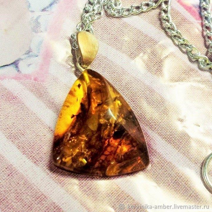 Amber diamond pendant on a chain Natural amber stone, Pendant, Kaliningrad,  Фото №1