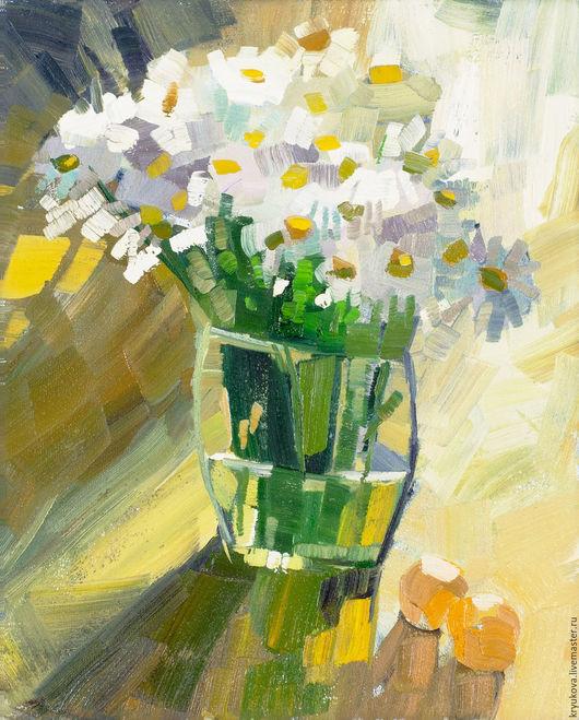 Картина маслом Летний натюрморт. Этюд Букет ромашек картина купить Лето цветы Летние цветы маслом Ромашки ромашка