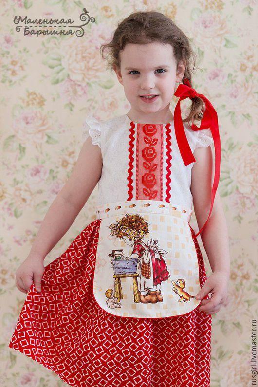 """Одежда для девочек, ручной работы. Ярмарка Мастеров - ручная работа. Купить Платье для девочки """"Леся""""+ украшение. Handmade. Ярко-красный"""