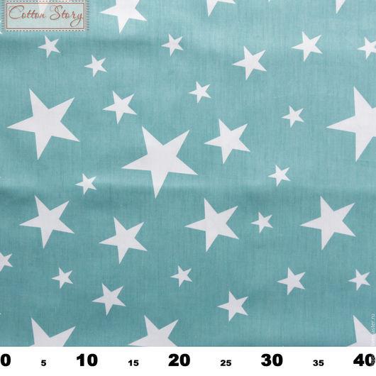 Шитье ручной работы. Ярмарка Мастеров - ручная работа. Купить Ткань хлопок Звезды и зигзаги - Звезды на голубом. Handmade. Саржа