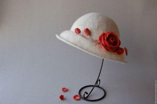 """Шляпы ручной работы. Ярмарка Мастеров - ручная работа. Купить Дамская шляпка """"Лепестки розы"""".. Handmade. Белый, шляпа"""