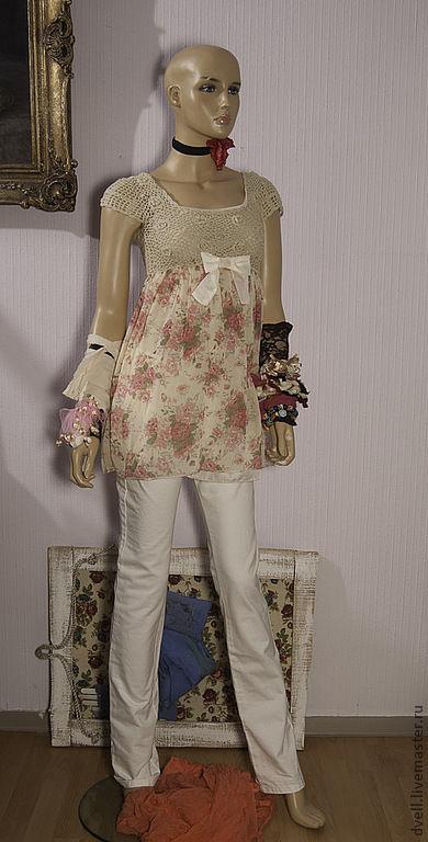 Пляжные платья ручной работы. Ярмарка Мастеров - ручная работа. Купить Туника, с принтом розы, романтический вечер, штаны в подарок. Handmade.