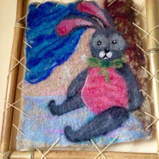 Животные ручной работы. Ярмарка Мастеров - ручная работа. Купить Валяная картина Зайка в витрине. Handmade. Картина в подарок