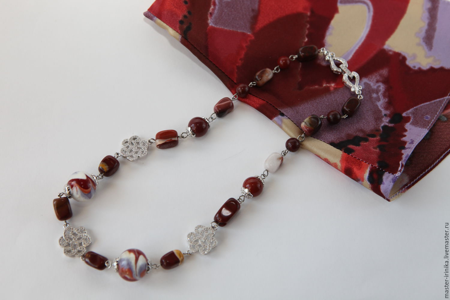 Beads Jasper beads in silver. Iranica. Workshop images Irina N. Jewelry crafted.