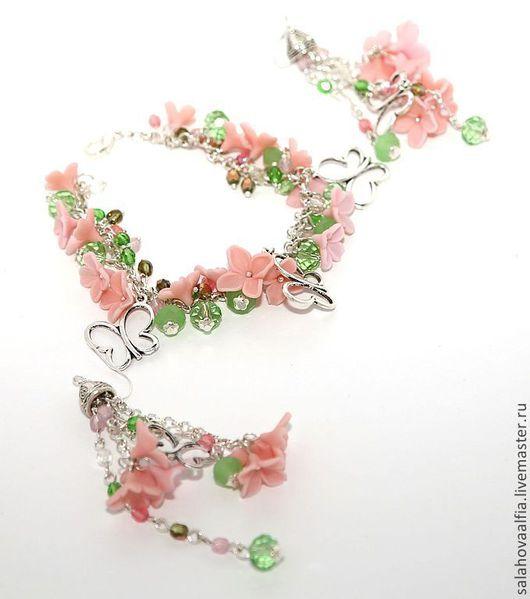 розовый комплект розовый нежно-розовый нежность нежные серьги лето летние серьги цветы сирени цветы из полимерной глины цветочный комплект летний комплект легкость длинные серьги розовый комплект цвет