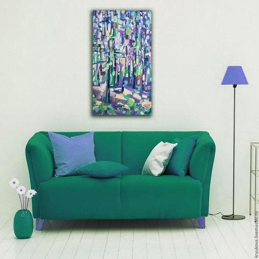 Картина маслом летний пейзаж лес Мозаика света Картина пейзаж лето масло Яркая картина в подарок Лес картина Лесной пейзаж