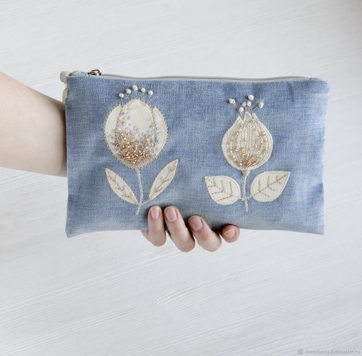 Cosmetic bag with handle. Large cosmetic bag with embroidery, Beauticians, Pskov,  Фото №1