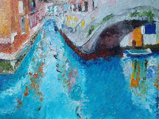"""Пейзаж ручной работы. Ярмарка Мастеров - ручная работа. Купить Картина """"Город на воде"""". Handmade. Бирюзовый, венеция, картина маслом"""