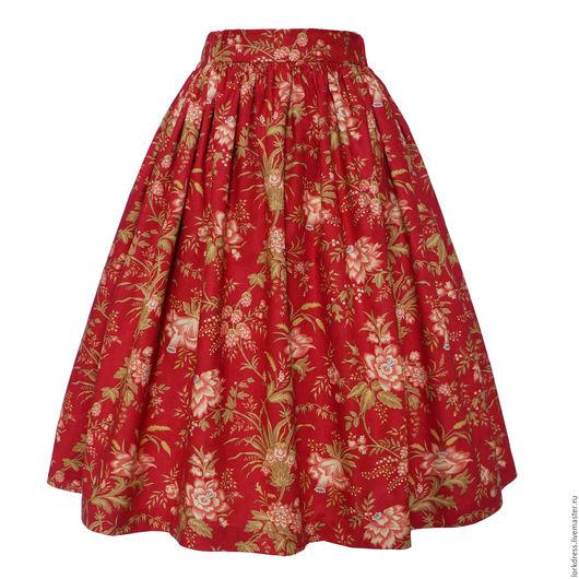 Юбки ручной работы. Ярмарка Мастеров - ручная работа. Купить Юбка миди Red Exotic 60 см с карманами. Handmade.