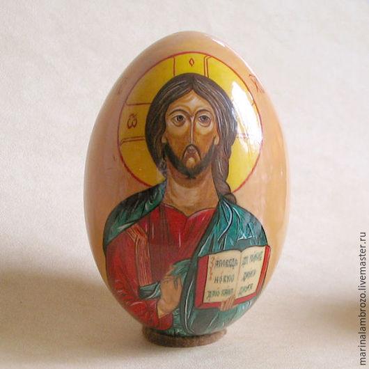 """Яйца ручной работы. Ярмарка Мастеров - ручная работа. Купить Пасхальное яйцо """"Иисус Христос"""". Handmade. Желтый, подарок к Пасхе"""