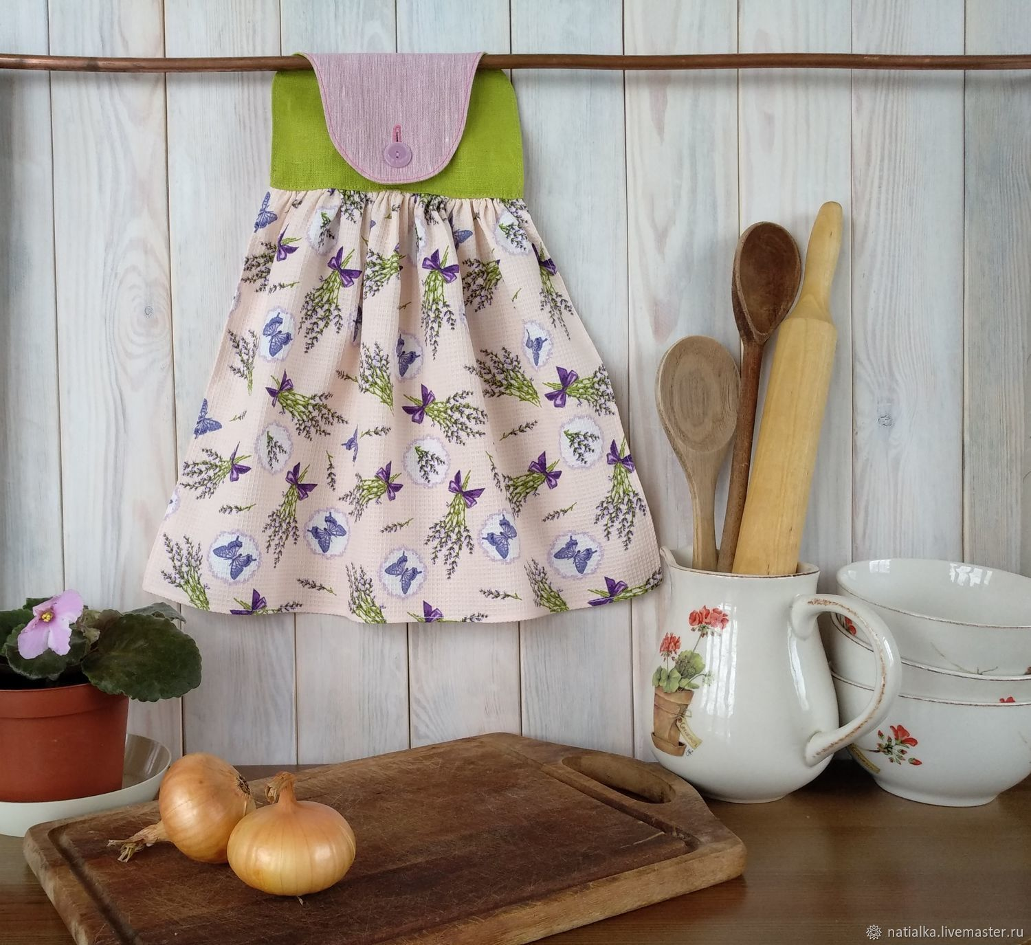 Kitchen handmade. Livemaster - handmade. Buy Kitchen towel with hanger, Summer dreams, Lavender, cotton and linen.Provence