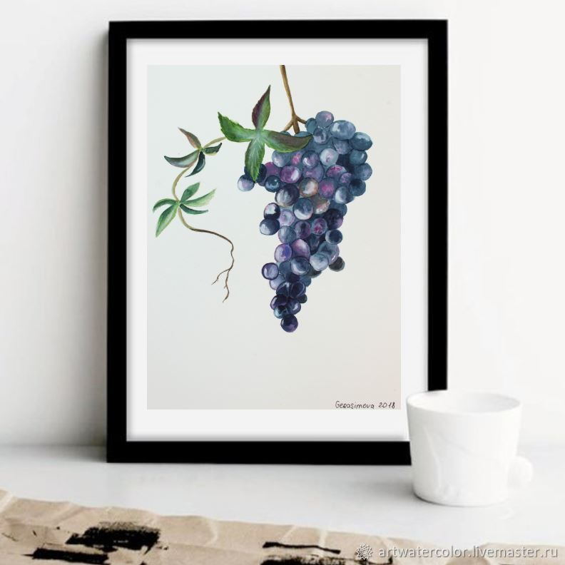 Painting watercolor GRAPES, Pictures, Vidnoye,  Фото №1