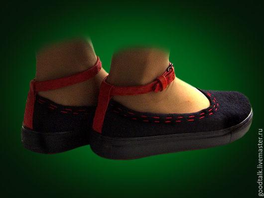 Обувь ручной работы. Ярмарка Мастеров - ручная работа. Купить Туфли валяные женские. Handmade. Черный, туфли валяные