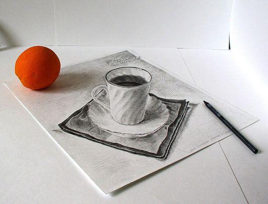 """Юмор ручной работы. Ярмарка Мастеров - ручная работа. Купить 3D иллюзия """"Завтрак фантазерки"""". Handmade. Анаморфоз, графика, апельсин"""
