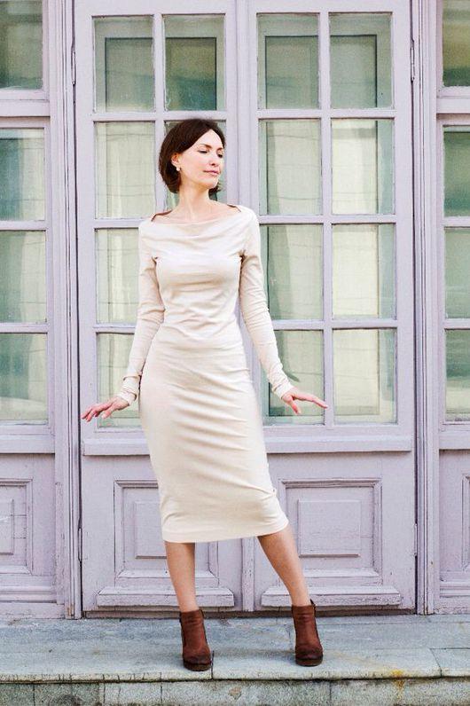 """Платья ручной работы. Ярмарка Мастеров - ручная работа. Купить Платье """"Прохладный вечер"""". Handmade. Бежевый, платье, сексуальное платье"""