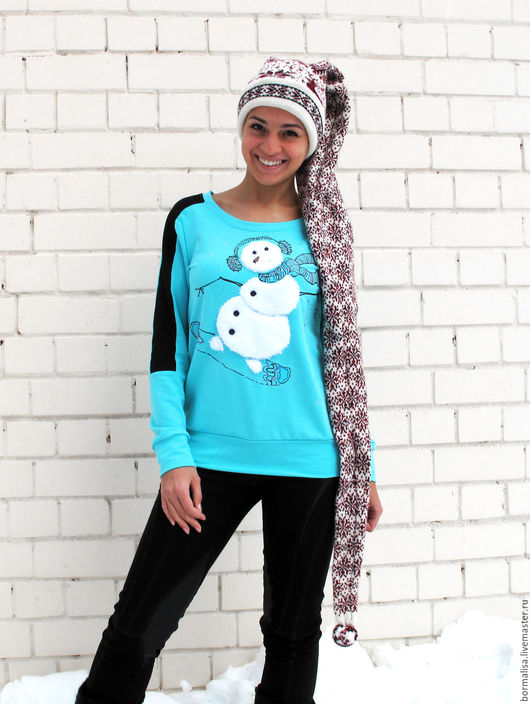 """Кофты и свитера ручной работы. Ярмарка Мастеров - ручная работа. Купить Джемпер """"Снеговик"""". Handmade. Комбинированный, джемпер, свитшот на заказ"""