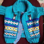 Работы для детей, handmade. Livemaster - original item Knitted vest for children 4-12 months (turquoise, cashmere, Alpaca). Handmade.