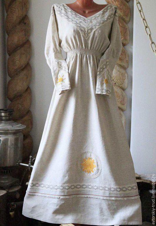 Новинка!Платье-Солнце. Ручная вышивка-гладь, мулине+бисер.100% лён В наборе сумочка мешочек