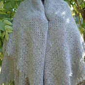 Аксессуары handmade. Livemaster - original item 184 downy shawl plaid grey openwork Orenburg, shawls. Handmade.