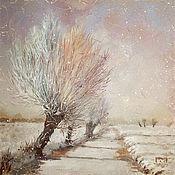 Картины и панно ручной работы. Ярмарка Мастеров - ручная работа картина  Дорожка, деревья, снег... (сиреневый, кремовый). Handmade.