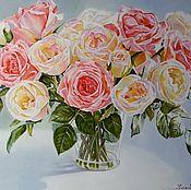 """Картины и панно ручной работы. Ярмарка Мастеров - ручная работа Картина маслом цветы  """" Нежные розы"""". Handmade."""