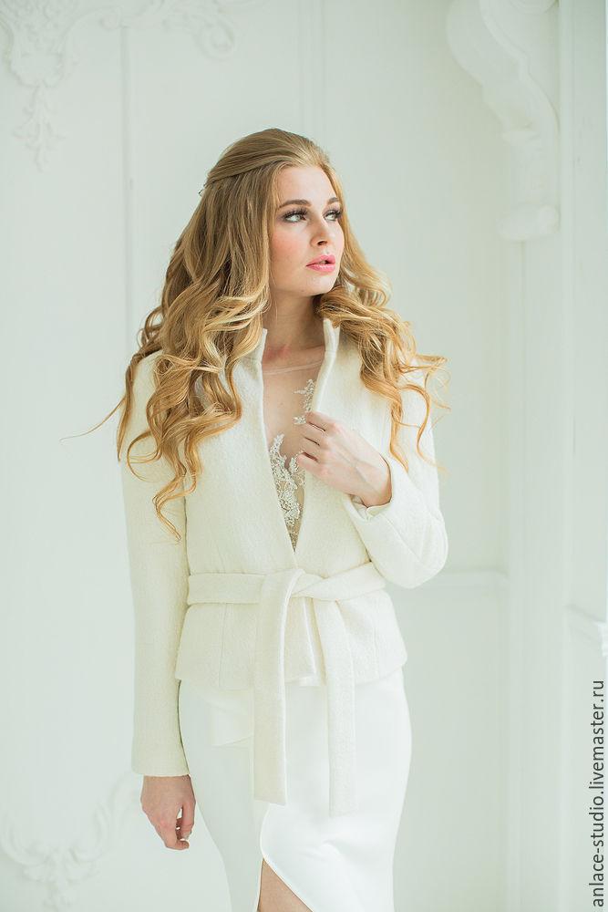 Свадебное Пальто Белое Женское Пальто  «Криста Букле», Накидки, Москва,  Фото №1
