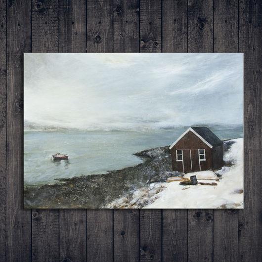 Пейзаж ручной работы. Ярмарка Мастеров - ручная работа. Купить Северный ветер. Handmade. Серый, темно-серый, белый, дом