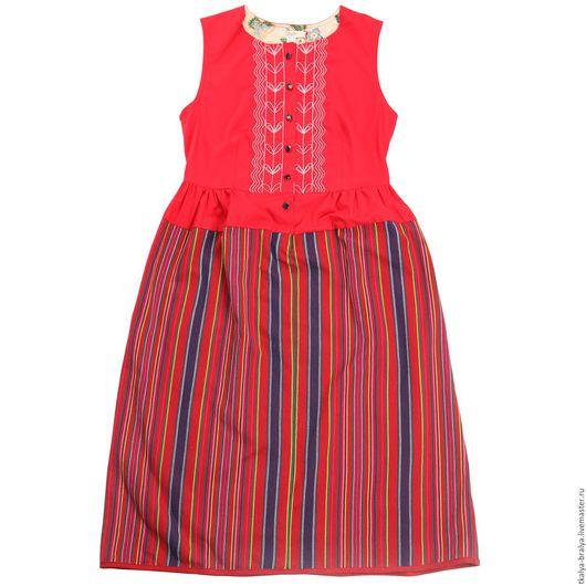Платья ручной работы. Ярмарка Мастеров - ручная работа. Купить Платье с вышивкой - красно-синее. Handmade. В полоску, платье