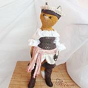 Анжела Фокс, лисичка, тедди-лиса, авторская игрушка, рыжая лиса, пират