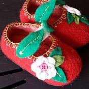 """Обувь ручной работы. Ярмарка Мастеров - ручная работа валяные детские тапочки """"Цветочек"""". Handmade."""