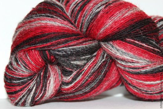 Вязание ручной работы. Ярмарка Мастеров - ручная работа. Купить Кауни Red-grey8/1, 8/2. Handmade. Комбинированный, черный, шерсть
