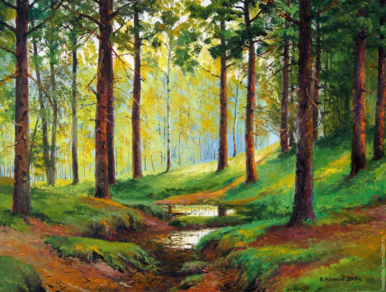 Landscape Painting Author Vladimir Chernov Through the pine trees ...
