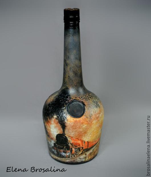 декупаж бутылки, бутылка декупаж, паровоз, старый паровоз, оригинальный дизайн, оригинальный подарок, подарок мужчине