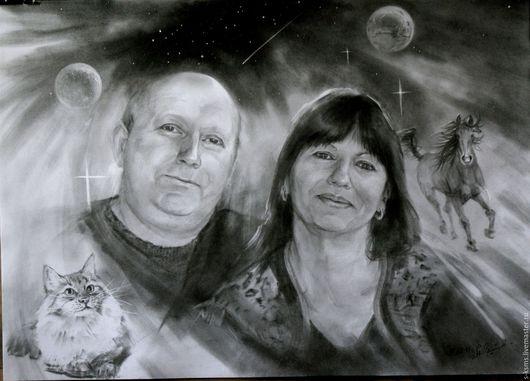 Люди, ручной работы. Ярмарка Мастеров - ручная работа. Купить Графический портрет соусом на бумаге Алексей и Нина. Handmade.