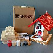 """Для дома и интерьера ручной работы. Ярмарка Мастеров - ручная работа Кормушка для птиц """"Снегири"""" в виде набора для сборки с красками. Handmade."""