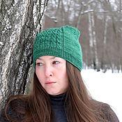 Аксессуары ручной работы. Ярмарка Мастеров - ручная работа Зелёная шапка с косами. Handmade.