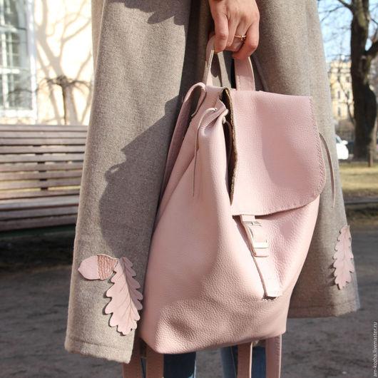 Рюкзаки ручной работы. Ярмарка Мастеров - ручная работа. Купить Женский кожаный розовый рюкзак. Handmade. Розовый, из кожи