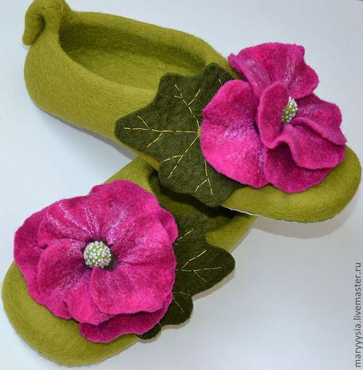 Обувь ручной работы. Ярмарка Мастеров - ручная работа. Купить тапочки -мальва. Handmade. Домашние тапочки, новозеландский кардочёс