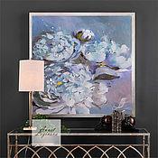 Картины и панно handmade. Livemaster - original item Oil painting with peonies, Blue haze. Handmade.